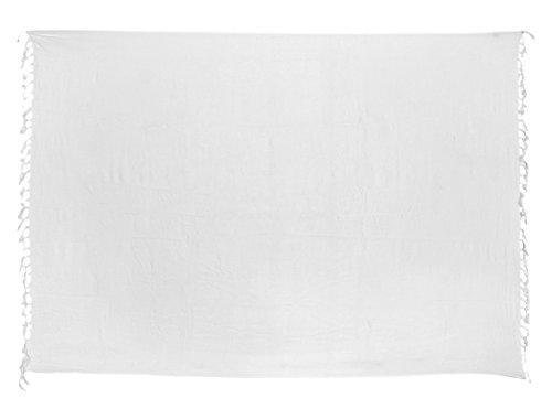Premium Sarong Pareo Wickelrock Strandtuch Lunghi Dhoti Schlicht Blickdicht Weiß PW (Weiß Pareo)