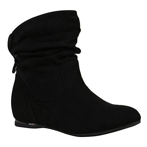 Flache Damen Stiefeletten Wildleder-Optik Boots Schlupfstiefel 152170 Schwarz Nieten 38 Flandell