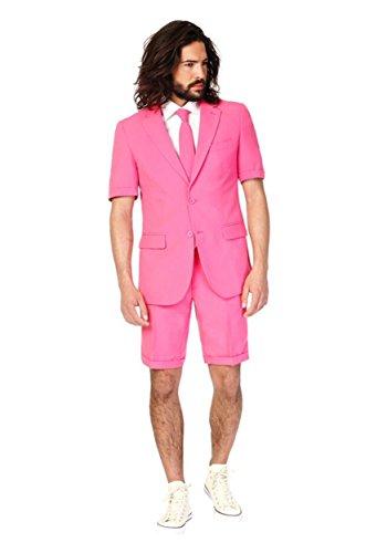 Mr Pink Sommer Anzug Summersuit Slimline Herren 3-teilig Premium Gr 52