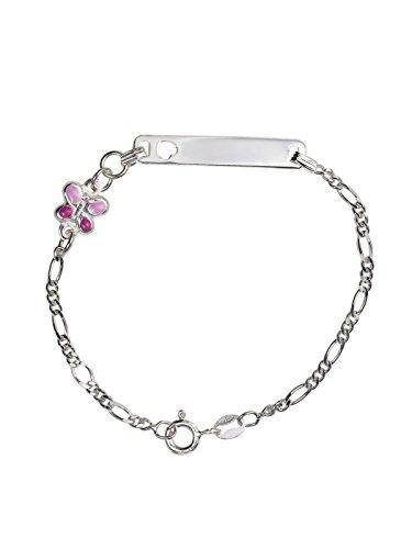 AKA Bijoux - Bracelet d'Identification Enfants Argent 925 avec Papillon Rose, Cadeau Fantaisie Fille