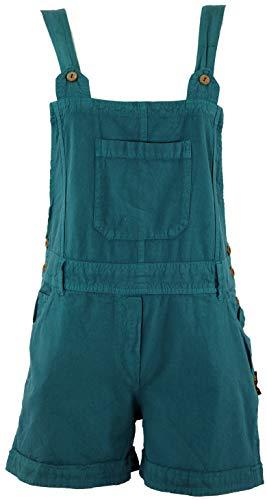 Guru-Shop Goa Shorts, Kurze Latzhose, Boho Latzhose - Petrol, Damen, Blau, Baumwolle, Size:M (38), Shorts, 3/4 Hosen, Leggings Alternative Bekleidung (Baumwoll Latzhose)