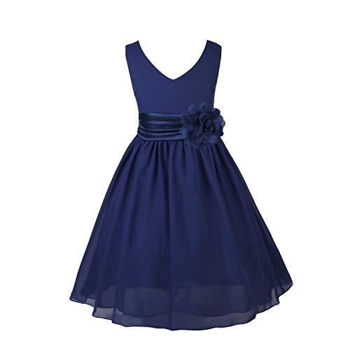 CHICTRY Mädchen Kleid Blumen-Mädchen Kleider Kinder Festlich Kinderkleid Hochzeit Kleid Partykleid Kleidung Freizeit Kommunionkleid Marineblau 128 (Kleid Mädchen Marineblau)