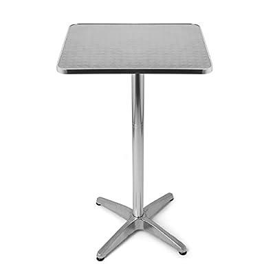 """'Bistro Tisch """"Stehtisch quadratisch Aluminium und höhenverstellbar, 60x 70/110cm, geeignet als Gartentisch, Tisch-Terrasse oder Balkon, durch Park Alley"""