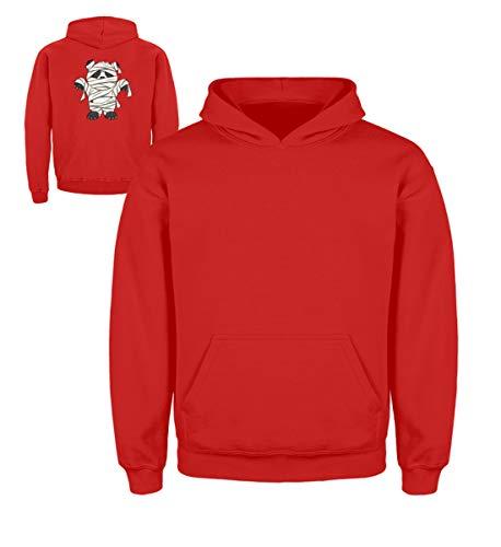 Shirtee Kleiner Pandabär mit Mumie Kostüm - Halloween Design für alle Panda Fans und Bären Freunde - Kinder Hoodie -3/4 (98/104)-Feuerrot (Drei Kostüm Kleine Bären, Halloween)
