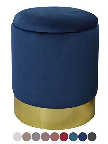 Casamia pouf in velluto di alta qualità con vano portaoggetti e coperchio, Ø 31 cm, altezza 38 cm, colore blu scuro - blu