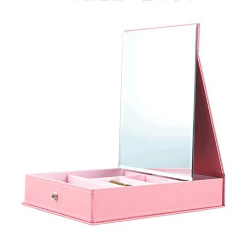 LCTHZJ Cuir PU imperméable à l'eau miroir de maquillage, organisateur de boîte d'affichage stockage de bijoux et cosmétiques avec miroir - Rose (taille : L)