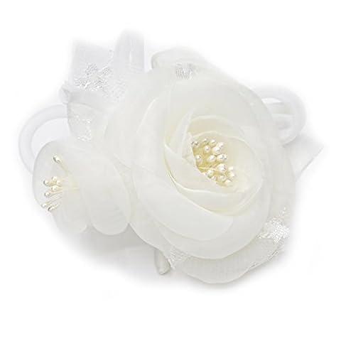 Broche fleur en tissu organza et dentelle, couleur ivoire.