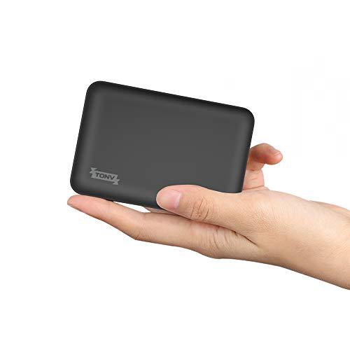 TONV Slim Power Bank 5000mAh, 2.1A Mini Batteria Esterna del Telefono Piccolo Dual Outlet, Alimentazione di Emergenza Telefono con 3 uscite per Android Micro USB e Tipo C