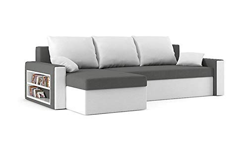 Sofini Ecksofa Drive mit Schlaffunktion! Best Ecksofa! Couch mit Bettkasten und Regalfächer! (Haiti 14+ Haiti 0)