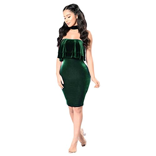 Malloom Frauen Damen Unregelmäßige Samt ärmel Gurtzeug Schlank Kleid (M, Grün)