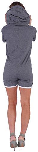Finchgirl Hotsuit Jumpsuit Overall Onesie Jogger Einteiler (XL, Dark Grey/White) - 3