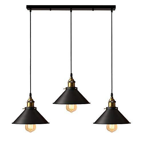 iDEGU 3 Lampes Suspension Luminaire Industrielle Lustre Plafonniers Design Edison Métal Lustre Suspension avec Support en Barre, Ø 22cm, Noir