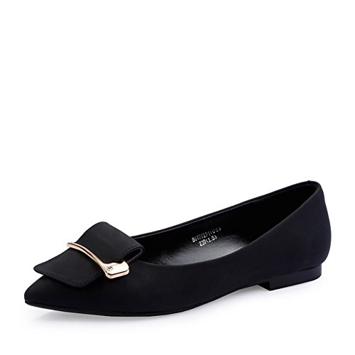 Automne couleur unie buckle shoes/Lady chaussures à talons métalliques/ chaussures bout pointu/Asakuchi chaussures MS A