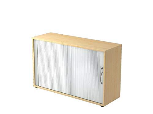 Büro-Rollladenschrank DR-Büro - abschließbarer Aktenschrank in 2 Ordnerhöhen - Maße 120 x 40 x 74,8 cm - Korpus in 5 Farbvarianten - höheneinstellbar, Farbe Büromöbel:Ahorn -