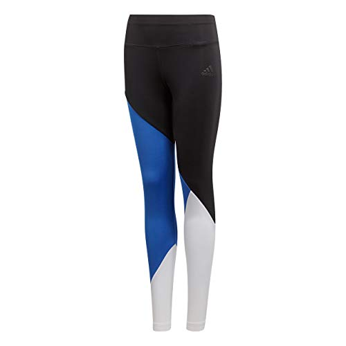 adidas Mädchen Training Colorblock Tight, Black/Hi-Res Blue/White, 164