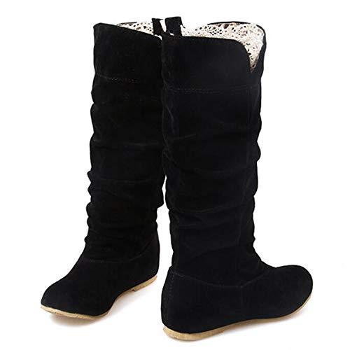 Damen Stiefeletten, Flache Ferse Stiefel Spitze Wildleder Booties Winter Fransen Stiefel Mode Atmungsaktiv,Black,39
