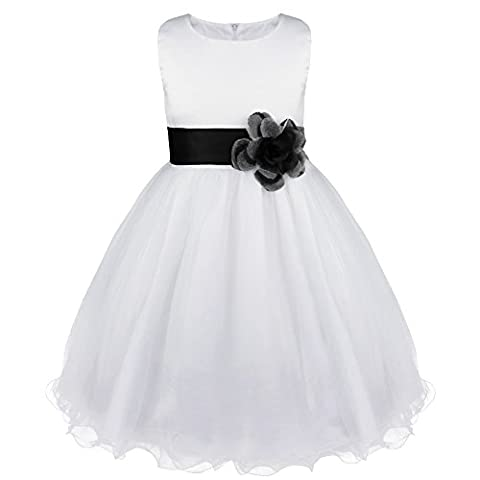 Girls Dress Flower Tulle Wedding Pageant Bridesmaid Christening Princess Kids Clothes 2-14 Years Black 10 Years