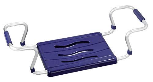 Wenko - Seduta per vasca da bagno blu, alluminio;plastica
