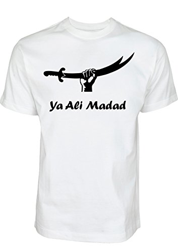 Ya Ali Madad Zulfiqar T-Shirt Ashura Muharram Shirt von Schia-Shop - Schiitische Shia Islam Kleidung (S, Weiß)