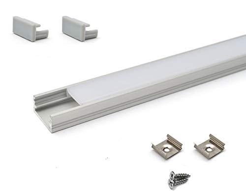 LineMini Aluminium LED-Profil mit Opal, matter lichtstreuender Kanal für 12V 24V 5050563035282835Lichtstreifen, einfarbig, RGB Weiß, für den Küchenschrank, 10 x 1 Meter - Led-aluminium-montage-kanal