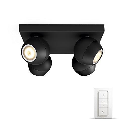 Philips Hue White Ambiance Buckram Faretto LED con 4 Punti Luce e...