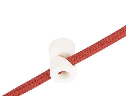 Preisvergleich Produktbild Wand- und Deckenpins - V - Weiß für Textilkabel. 5 Stück. Made in Italy