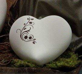 Tierurne - Herz aus Keramik, Sand, dunkel schattiert mit braunem Ornament, Vol. ca. 0,55 Ltr. -