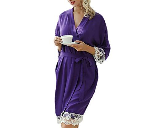 CuteRose Women's Lace Trim Housecoat Sexy Silky Light Weight Kimono Bathrobe Purple XS -