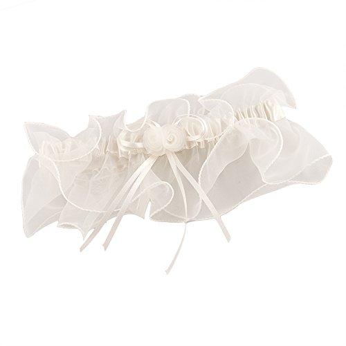Strumpfband Organza in Creme für die Braut - stilvoller Strumpfhalter mit breitem Schleier aus Organza als romantisches Brautaccessoire zur Hochzeit (Hochzeit Dessous Für Die Braut)