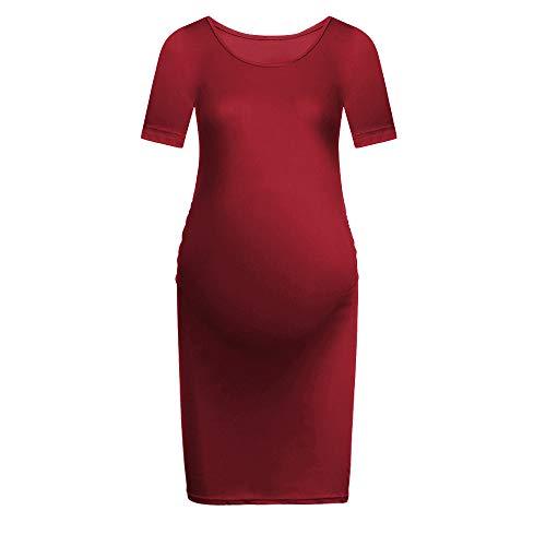 Lazzboy Frauen Mutterschaft Bodycon Dress Casual Kurzarm ()