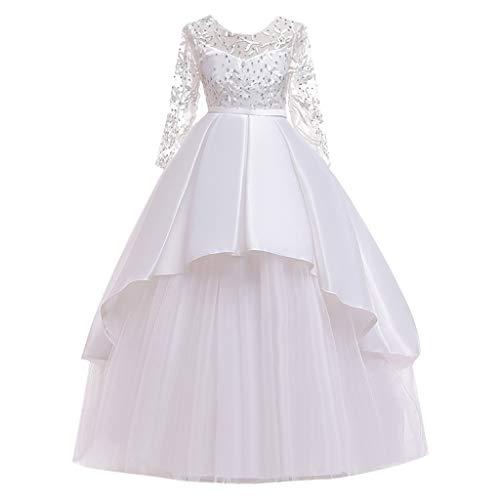 Livoral Mädchen Hochzeitskleid Partykleid Mädchen der Kinder schnüren Sich Bogenprinzessin-Hochzeitsshow Formale Tüllkleidkleidung(Weiß,160) (Red Tutu M&m Teen Kostüm)