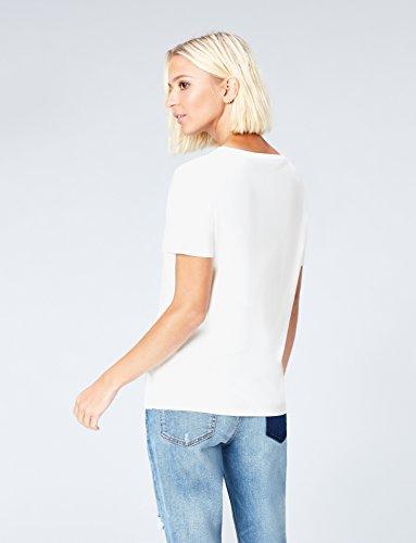 FIND Damen T-Shirt mit Perlendetails mit Perlendetails Weiß (White)