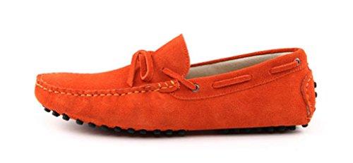 Men's Minitoo Nouveau nœud de route Loafers Penny bateau en daim pour chaussures Orange