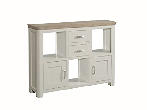 Bevel Painted Solid Oak Low Display Unit with a mix of open shelves, drawers and doors - Finish : Stone Painted Oak - Living Room