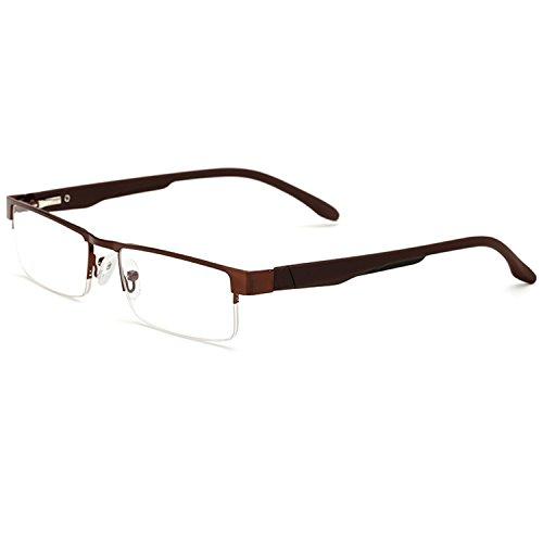 LANOMI Lesebrillen Metall Sehhilfe Augenoptik Halbrand Halbrandbrille Brille Lesehilfe für Damen Herren von 1.0 1.5 2.0 2.5 3.0 3.5 4.0 (Braun, 4.0)