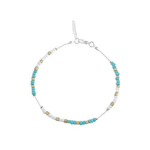 Simsly, Fußkettchen mit blauen Perlen, Boho-Schmuck für Frauen und Mädchen (Silber)