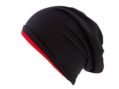 Shenky - Bonnet réversible - bicolore - plusieurs coloris disponibles - taille unique Noir/Rouge