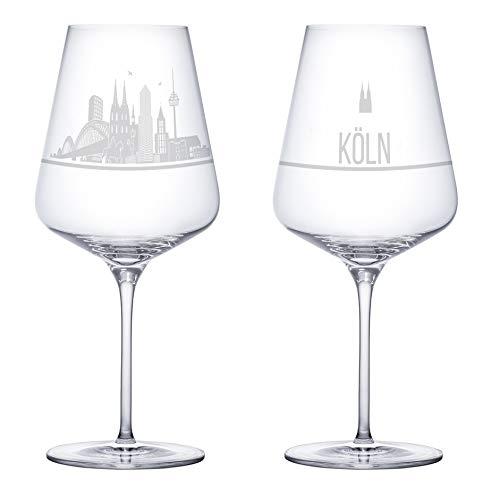 I LOVE Köln Weingläser 2er Set | Weinglas mit Gravur der Kölner Skyline | Souvenir Deutschland | Geschenkidee Muttertag, Vatertag, Gastgeschenk | Geschenkbox Deutschland | MADE IN GERMANY