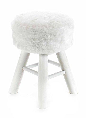 ArtiCasa Sitz Polsterhocker mit Holzgestell, 4 Beine, solide Verarbeitung, Design Kunstfell, lieferbar in den Farben Weiß, Schwarz oder Grau/Braun (Weiß)