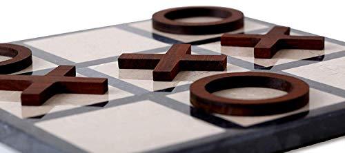 Radicaln Tic Tac Toe 2-Spieler Schreibtischspiele 8-Zoll-Schwarz und Braun Handmade Marble Board mit Stücken von Holz Kaffee Tictactoe Spiel Tic-Tac-Toe Board Games for Adults