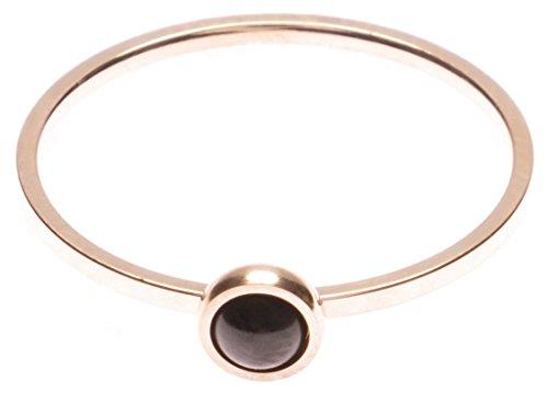 Happiness Boutique Damen Schwarzer Stein Ring | Zarter Ring in Rosegold Edelstahlschmuck