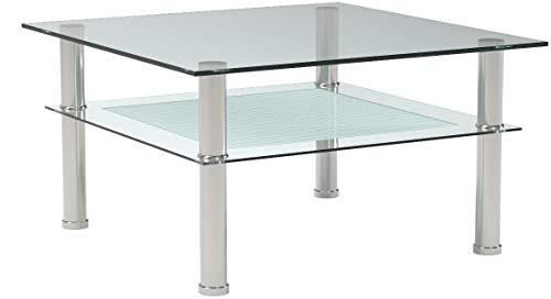 Ts-Ideen 4824 - Tavolino in vetro di sicurezza monolastra di 10 mm e  acciaio INOX, 80 x 80 cm