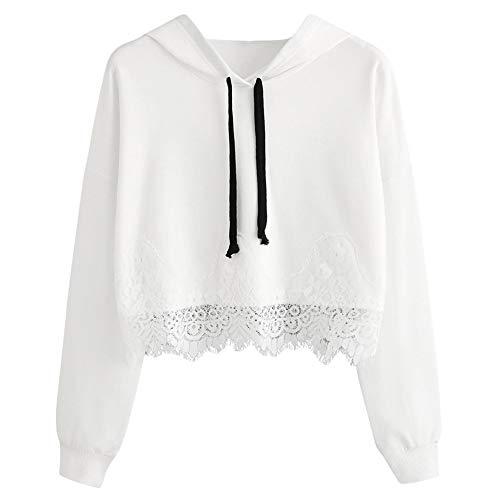 CUTUDE Langarm Hoodie Sweatshirt Damen Kapuzenpullover Bluse Spitze Lässig Schwarz Weiß Top