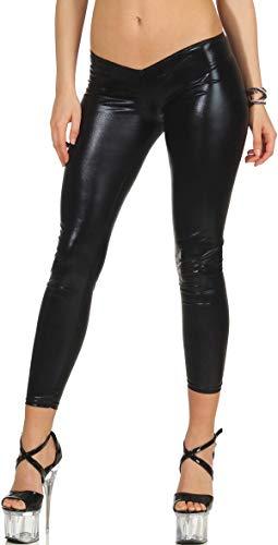 StyleLightOne Damen Wetloook Leggings GoGo Stretch Glossy metallic Low Waist niedriger Bund Hüfthose Clubwear Party, Schwarz 34 36