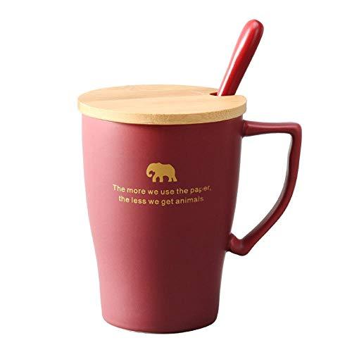 ZHUYU Kaffeetasse Zum Frühstüc,Kreative Keramische Cups_ Becher, Milch, Tasse Kaffees, Personifizierte Geschenke @ Red_301-400Ml