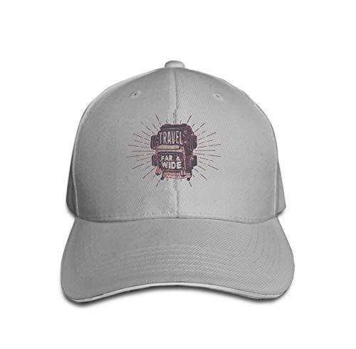 Unisex Cotton Sandwich Peaked Cap Adjustable Baseball Hats Vintage Hand Drawn Textured Apparel Fashion Print Camp Backpack Gray Vintage-sandwich-cap