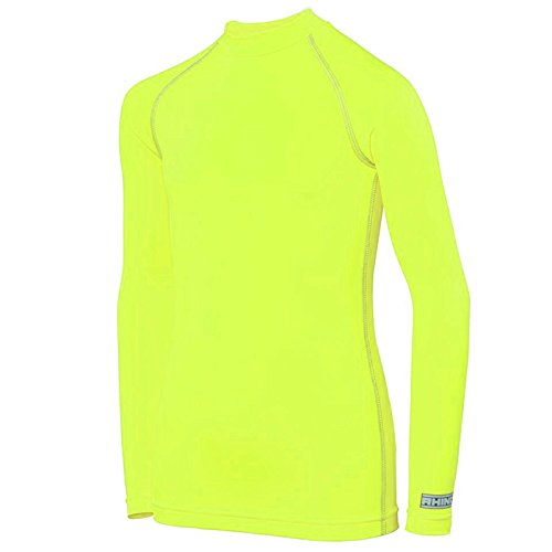Rhino Base Layer Top Junior - Unisex Long Sleeve Sports Compression Body Fit Top Fluo Yellow LY/XLY