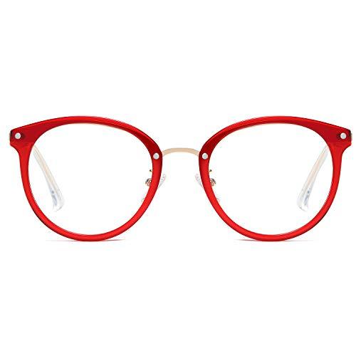 Sojos occhiali anti luce blu rotondi vintage occhiali da vista computer per donna sj9001 ashley con rossotelaio/lente anti-blu