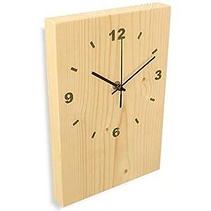 Wanduhr Holz aus massivem Natur Fichtenholz, DCF-77 - Funkuhr im Modern-Design - flüsterleise Holzuhr massiv 30x20x3cm fürs Wohnzimmer oder als Küchenuhr