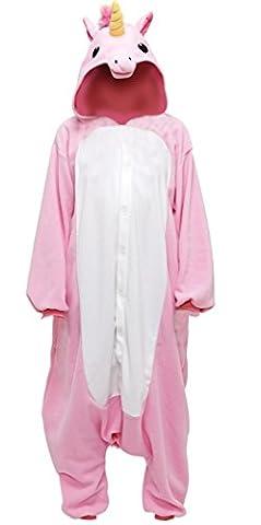 Anbelarui Einhorn Damen Jumpsuit Fasching Kostüm Tier Karton Flannel Sleepsuit Fleece Overall Pyjama Witzig Kuschellich Schlafanzug ( Rosa (Rosa Einhorn-kostüm)